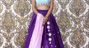 A beautiful Cyan Violet Lehenga by Varuna Jithesh